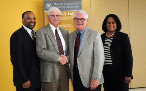 Pictured left to right: Steve Parks, EMgt'82, supervisor of diversity for Ameren; Dr. John F. Carney III; Tom Voss, EE'69, Ameren chair and CEO; and Sharon Harvey Davis, director of diversity for Ameren. Photo by B.A. Rupert.