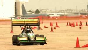 Missouri S&T's Formula One-style racer competes at Formula SAE Lincoln. Photo courtesy of Brad Cook.
