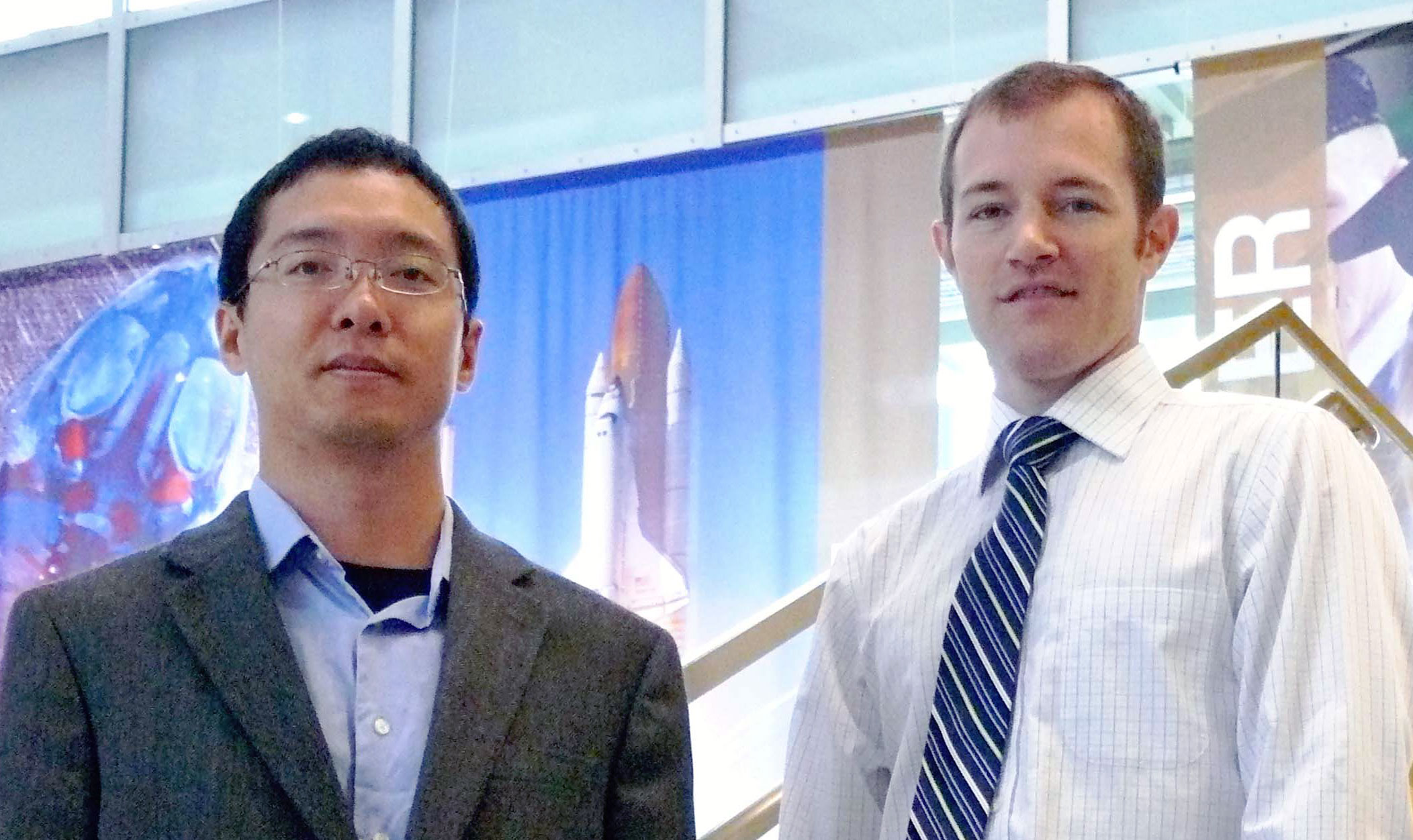A proposal by Dr. Xiaodong Yang (left) and Dr. Joshua Rovey was selected for funding by the NASA Innovative Advanced Concepts program. Photo credit Brianna Bales