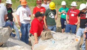 Dr. Paul Worsey (center) instructs students at Missouri S&T's Experimental Mine Facility.