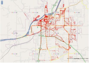 Map of a wireless audit of Rolla completed by Missouri S&T students.