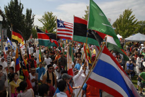 The 2013 Celebration of Nations festival included flags representing more than 80 countries. Missouri S&T's Applied Language Institute supports the event.