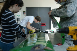 AAVG members construct the wings of the plane. Photo by Sam O'Keefe, Missouri S&T.
