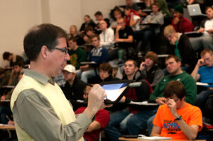 Klaus Woelk, interim chair and associate professor of chemistry, is using technology to improve instruction.