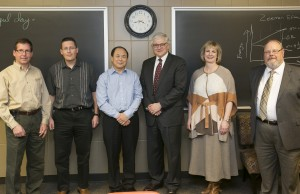 Pictured left to right are Dr. Klaus Woelk, interim chair of chemistry; Dr. Richard Dawes, assistant professor of chemistry; Dr. Yinfa Ma, Curators' Teaching Professor of chemistry; Hank Foley, executive vice president for academic affairs at the UM System; Missouri S&T Chancellor Cheryl B. Schrader; and Dr. Phil Whitefield, interim vice provost for academic affairs.