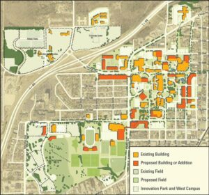 This map of the campus master plan envisions a new look for Missouri S&T.