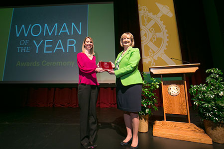 Missouri S&T Chancellor Cheryl B. Schrader, right, presented Dr. Shannon Fogg with the 2014 Woman of the Year Award.