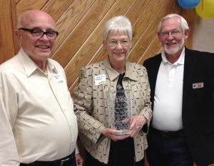 From left: KMST Volunteers of the Year Don and Nancy Brackhahn with KMST Station Manager Wayne Bledsoe.