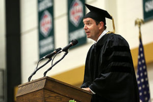 Jeff Steinhart, retired vice president of engineering and environmental affairs for Anheuser-Busch Inc. and a 1979 engineering management graduate of Missouri S&T, delivered the May 2014 commencement address.