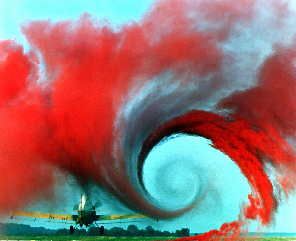 Turbulence in the tip vortex from an airplane wing. (Photo by NASA Langley Research Center.)