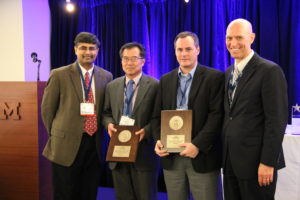 Drs. Ming Leu (second from left) and Robert Landers (third from left) receive the ASME award from (at left) award committee chair Dr. Shreyes Melkote and (at right) Dr. Brad Kinsey, ASME manufacturing engineering division chair.