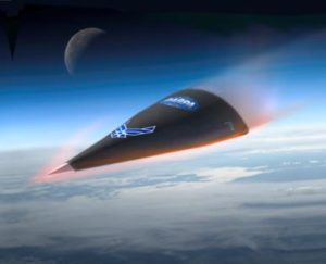 Illustration of the DARPA Falcon hypersonic vehicle during re-entry. Such hypersonic vehicles are the subject of Lian Duan's research.