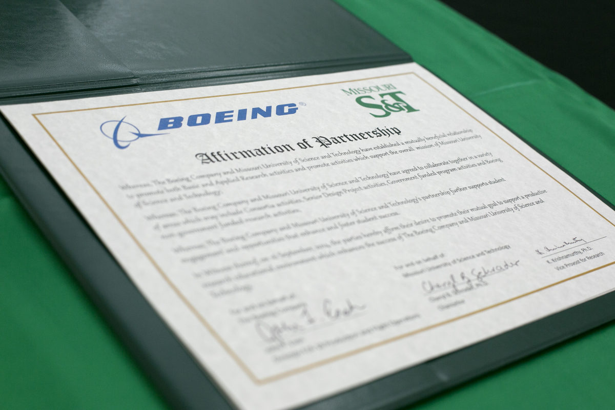 Missouri S&T and Boeing formalized a master research agreement on Tuesday, Sept. 16, 2014. Sam O'Keefe/Missouri S&T