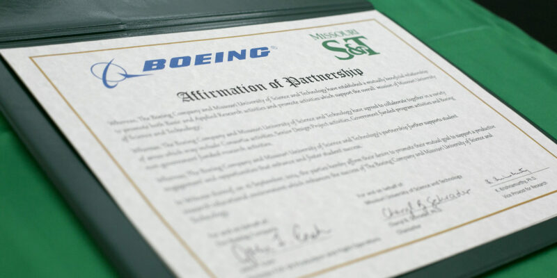Boeing, Missouri S&T enter into master research agreement