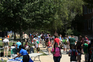 Missouri S&T students check out the more than 200 student organizations on campus during Minerama 2014.