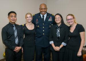 From the left: Joseph Baleta; Denise Minard; Maj. Gen. Leslie C. Smith; Caroline Tran; and Carly Ecker. Photo submitted.