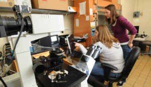Dr. Katie Shannon, right, associate teaching professor of biological sciences at Missouri S&T, is part of the Center for Statistical and Computational Modeling of Biological Complexity.