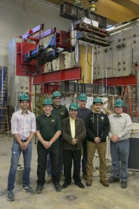 Dr. ElGawady and his research team in front of the large-scale testing.
