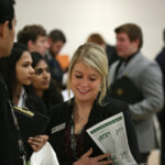 A student at Missouri S&T's Spring 2015 Career Fair. Each semester, hundreds of employers flock to campus to hire S&T students of all majors.