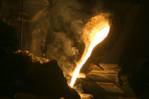 Molten steel is poured in Missouri S&T's foundry in McNutt Hall.