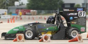 The Formula SAE car in action. Photo by Bob Phelan.