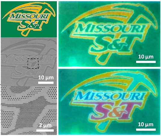 Missouri S&T researchers have developed a method to accurately print high-resolution images on nanoscale materials. They used the Missouri S&T athletic logo to demonstrate the process.