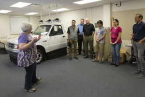 Missouri S&T associate professor Suzanna Long describes the study that uses the Ford Ranger driving simulator.