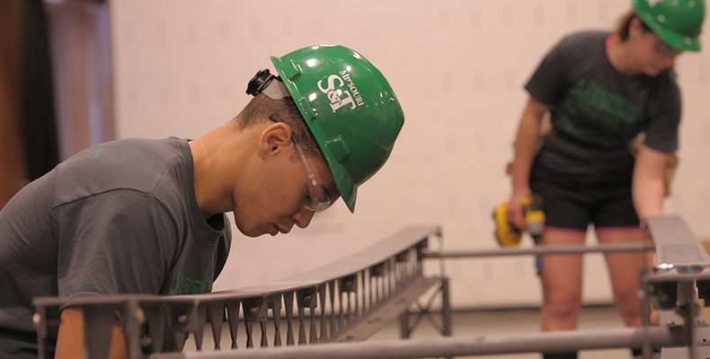 2014 graduate Jermy Jamison was team leader for the Missouri S&T Steel Bridge Design Team. Photo by Bob Phelan.