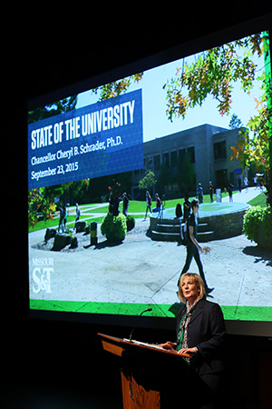 Chancellor Cheryl B. Schrader delivers the fall 2015 State of the University Address