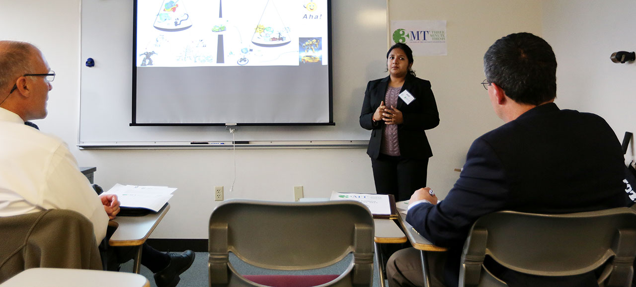 Maigha, a Ph.D. student in electrical engineering and winner of S&T's 3MT competition, presents her research on electric vehicles during the first day of competition. Sam O'Keefe/Missouri S&T