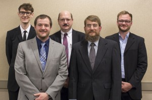 Ph.D. students at Missouri S&T recognized for their research are, from left, Michael Wisely, Cory Reed, George Shannon, Kenneth Campbell and Jordan Wilson. Not pictured is Erica Ronchetto.