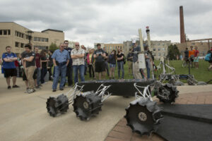 The Mars Rover Design Team reveals the new rover outside of the Havener Center on April 15, 2016.         Sam O'Keefe/Missouri S&T