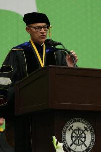 University of Missouri System Interim President Michael Middleton spoke during the morning commencement ceremony at Missouri S&T.