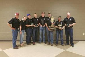 The Missouri S&T mine rescue Gold Team took first place in a recent competition in New Iberia, Louisiana. From left, advisor Jimmie Taylor and team members Deanna Fitzgerald, Will Hoover, Drew Hanneke, Tanner Eliuk, Holden Henry, Katie Sewester and Ross Hoover.