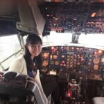 Yeon Kyung Lee on the flight deck of a Southwest airplane. Photo provided by Campus Reach – Southwest Airlines.