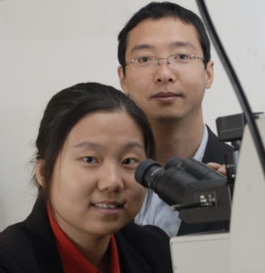 Missouri S&T professors Jie Gao, left, and Xiaodong Yang have developed a way to produce 3-D holographic images by using nanoscale metallic film.