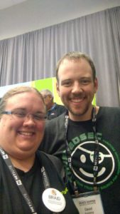Graduate student Katrina Ward met cybersecurity expert David Kennedy while attending the Grace Hopper conference.