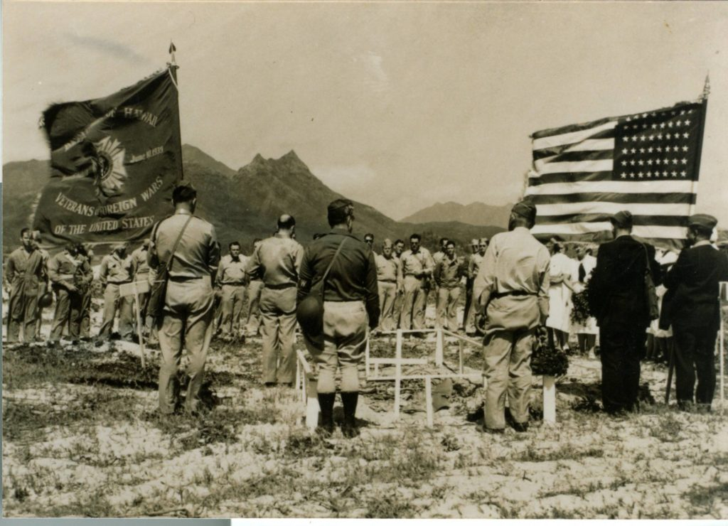 Whiteman's military funeral service at the site of his plane crash near Bellows Field in Oahu, Hawaii.