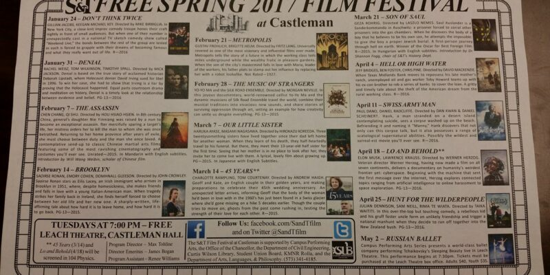 Missouri S&T's Free Spring Film Series starts Jan. 24