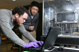 Dr. Heng Pan working in his lab with graduate student Brandon Ludwig. Sam O'Keefe/Missouri S&T