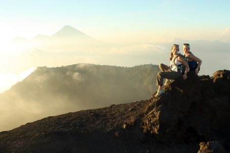 S&T students pose on a volcano in Guatemala during a class trip.