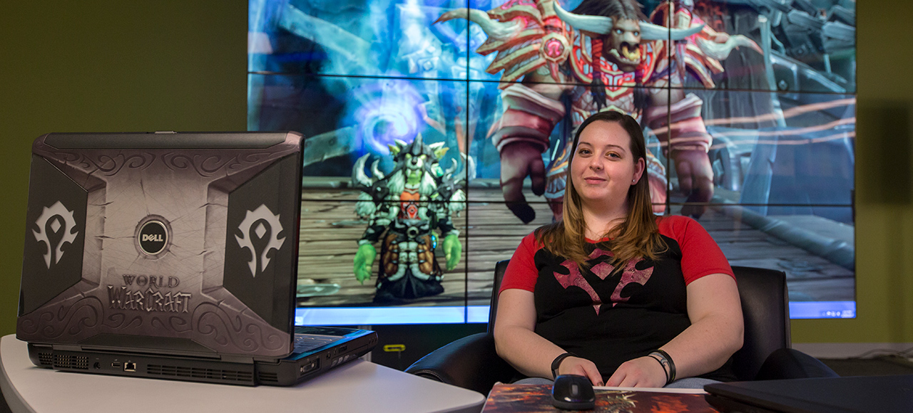 Elizabeth Short, a graduate student in industrial/organizational psychology, poses in front of her World of Warcraft character. Sam O'Keefe/Missouri S&T