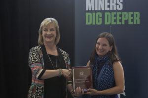 Missouri S&T Chancellor Cheryl B. Schrader presents Dr. Audra Merfeld-Langston with the 2017 Missouri S&T Woman of the Year Award.