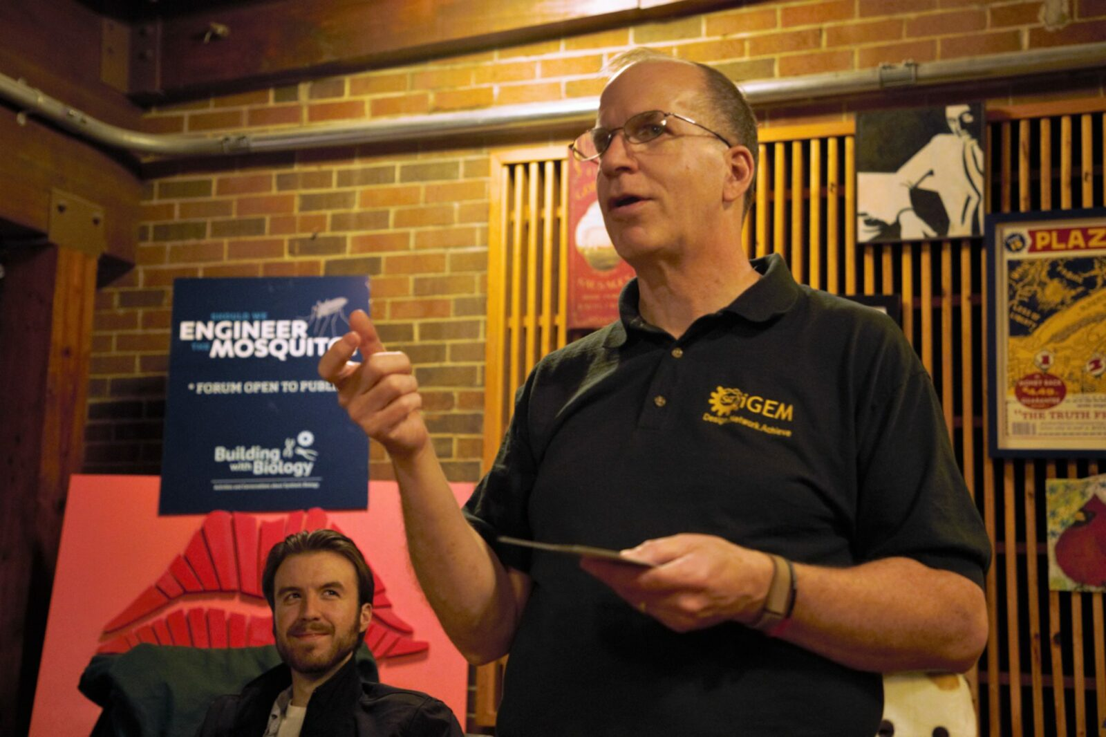 Dr. Dave Westenberg (right) speaks during the first Research on Tap social hour at Public House Brewing Company in Rolla. Greg Katski/Missouri S&T