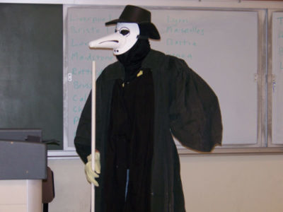 Westenberg dresses up as a plague doctor and visits local middle schools to educate students about how diseases like Black Death were combated during the Middle Ages. Photo contributed by Dave Westenberg