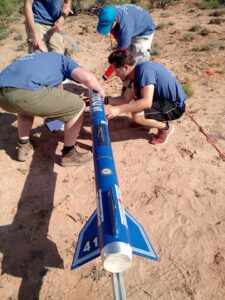 "Missouri S&T students working on their rocket ""Hades"" during the 2017 competition. Photo courtesy of the team's Facebook page."