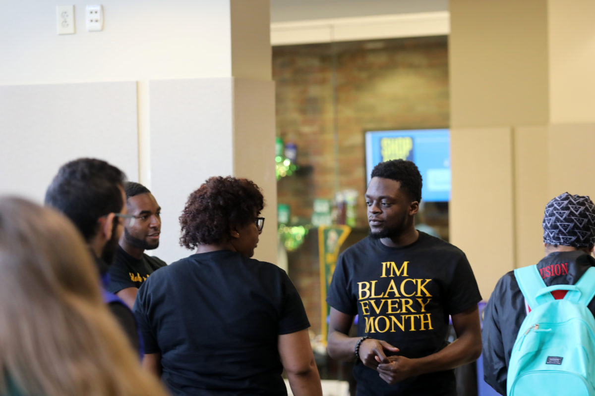 Anthony Yemitan, a sophomore computer engineering major from Houston, Texas, at the 2018 Black History Month kickoff event in the Havener Center Atrium. Sam O'Keefe/Missouri S&T