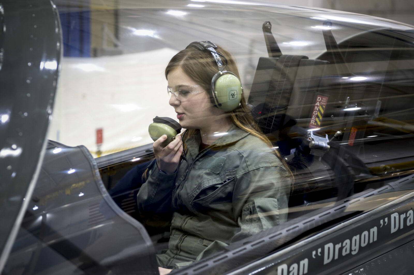 Missouri S&T student Katie Frogge in the cockpit of the Boeing T-X. She was among the first members of the public to view the new jet. Boeing photo.
