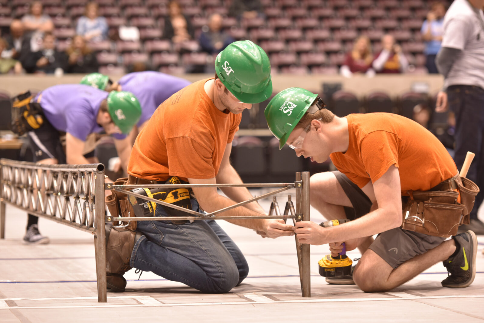 The Steel Bridge Design Team competes during the 2018 regional competition. Photo by Bob Phelan.