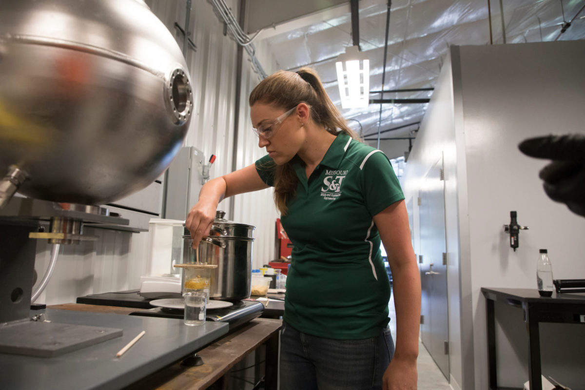 Dr. Catherine Johnson studies how battlefield explosions may contribute to traumatic brain injury among soldiers. She conducts her research at S&T's Experimental Miner and in the Energetics Laboratory. Sam O'Keefe/Missouri S&T